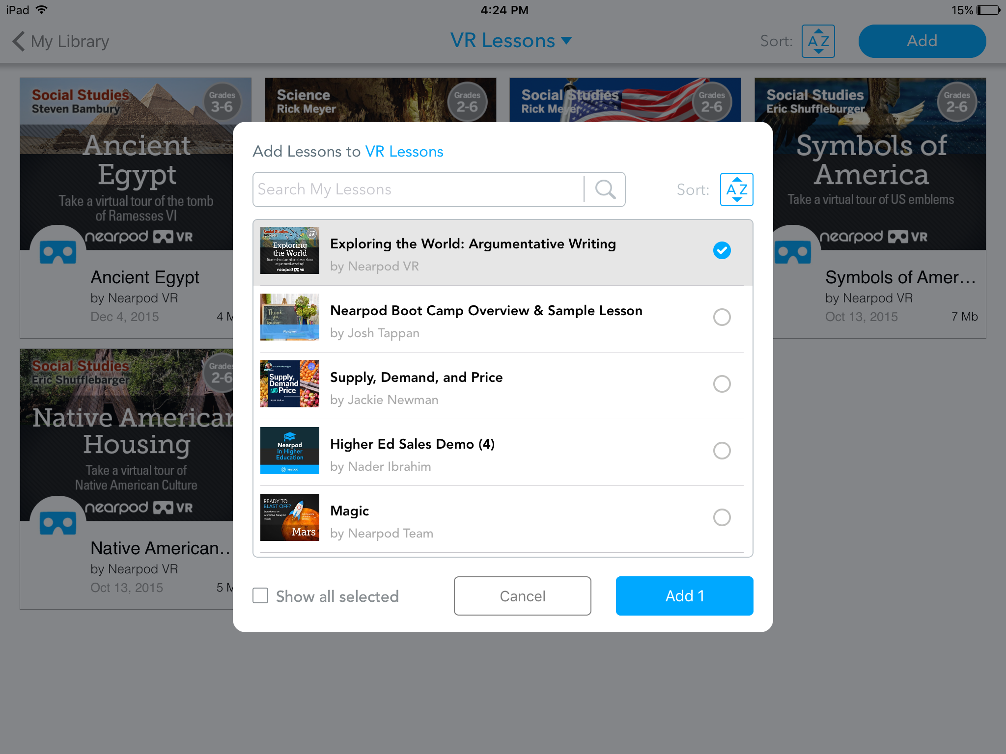 Add lessons to your Nearpod folders
