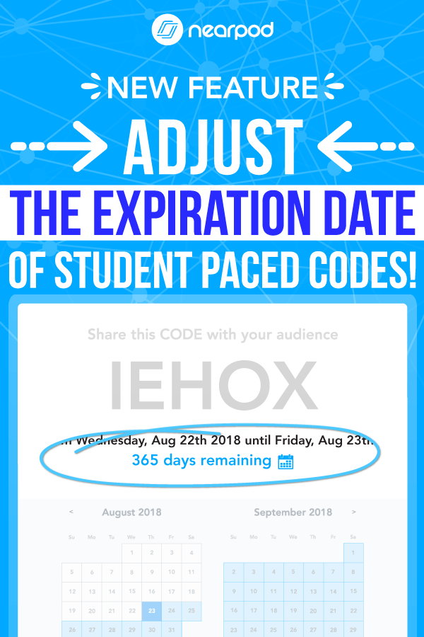 Nearpod update! Teachers can now adjust the expiration of student-paced codes to 365 days! Learn how to integrate technology in the classroom! Also, perfect for sub plans and lesson ideas!