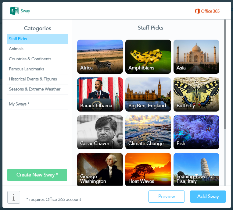Content Tool Add Sway