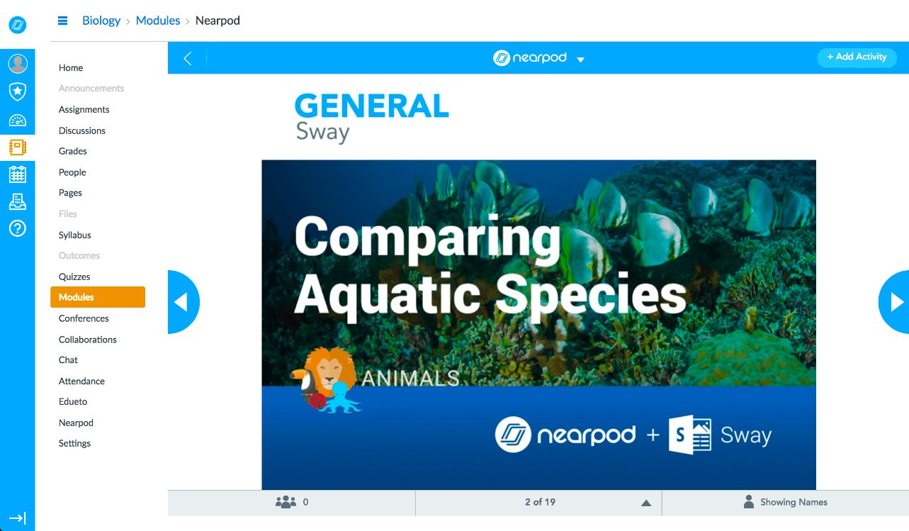 Nearpod inside Canvas